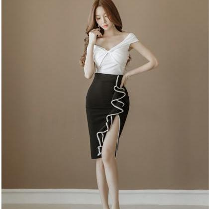V-Neck Shirt+Black Bodycon Skirts T..