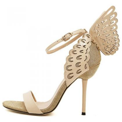 Butterfly Decorate Stiletto Heel Pe..