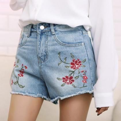 Embroidery Rough Edge Hight Waist D..