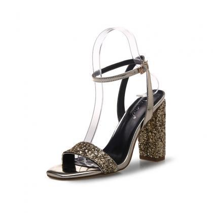 Square Open-Toe Sequined Ankle Stra..