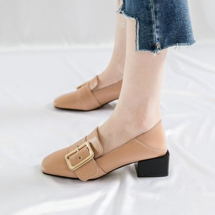 Hasp Square Toe Low Chunky Heel Low..