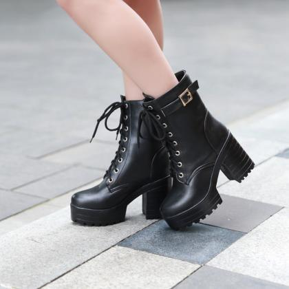 High Platform Lace Up Middle Chunky..