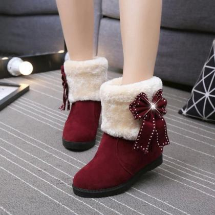 Pure Color Suede Slope Heel Round T..