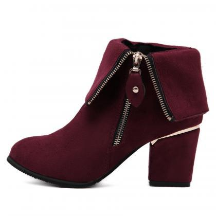 Suede Pure Color Chunky Heel Round ..