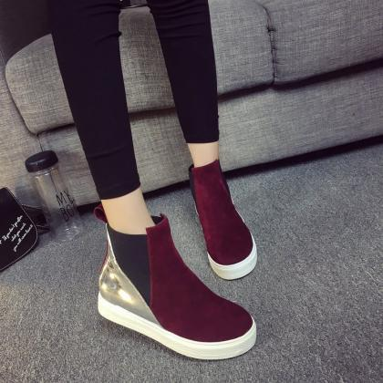 Suede Patchwork Flat Round Toe Boot..