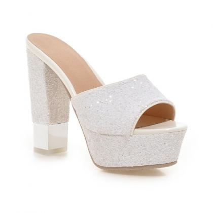 Light PU Chunky Heel Pure Color Pee..