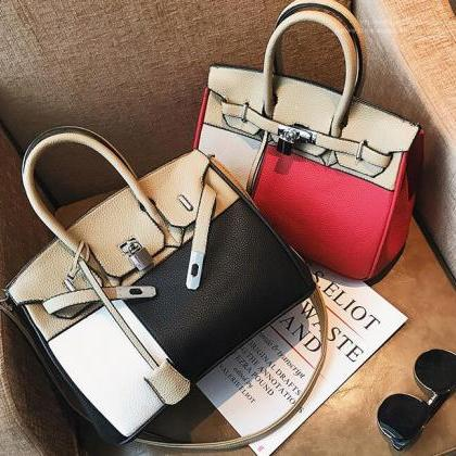 Casual Color Block PU Women Satchel