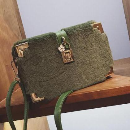 Box Shape Plush Women Crossbody Bag