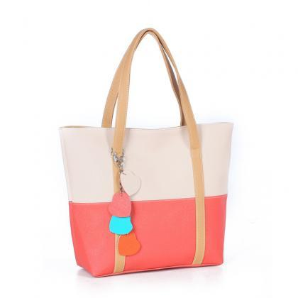 Color Block Women Tote Bag