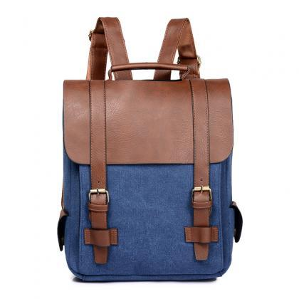 Casual Color Block Women PU Backpac..