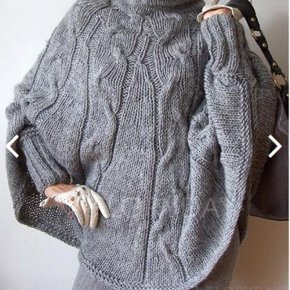 Turtleneck Cable Knit Long Batwing ..