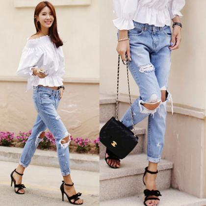 Ripped Hole Loose Slim Street Fashi..