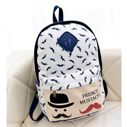 Mustache Print Fashion Backpack Sch..