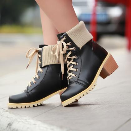 Retro Style Lace Up Patchwork Snow ..