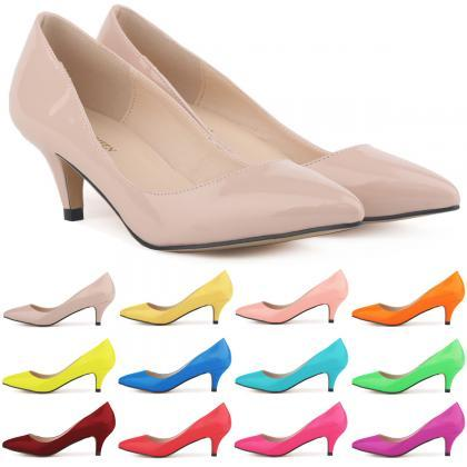 Patent Leather Pointed-Toe Kitten H..