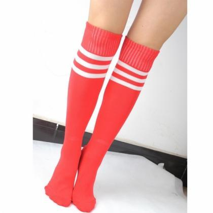 Pure Color Knee High Stripe Tube So..
