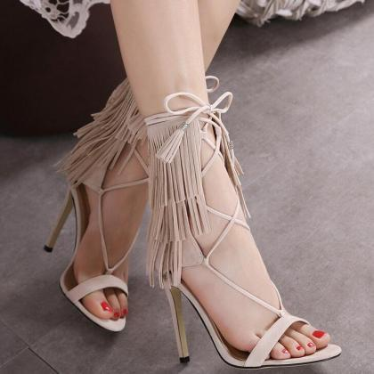 Sexy Belt Peep-Toe High-Heeled Tass..