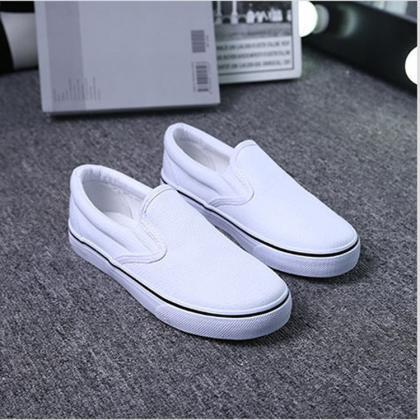 Canvas Slip-On Sneakers in White or..