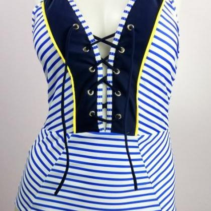 Striped Plunge V Lace-Up One-Piece ..