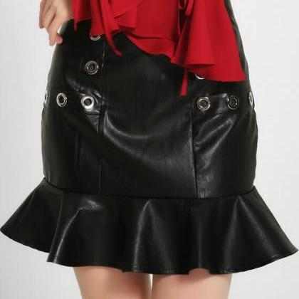 Mini Trumpet Skirt with Rivet Detai..