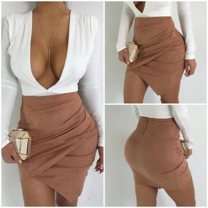 Sexy Wrap Faux Suede Short Bodycon ..
