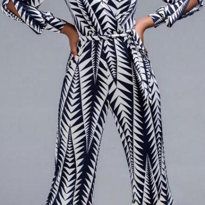 Print Long Split Sleeve V-neck Wide..