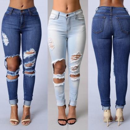 Denim Blue Holes Ripped Pencil Slim..