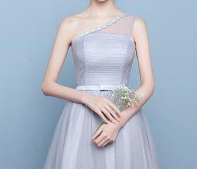 One Shoulder Tulle P..