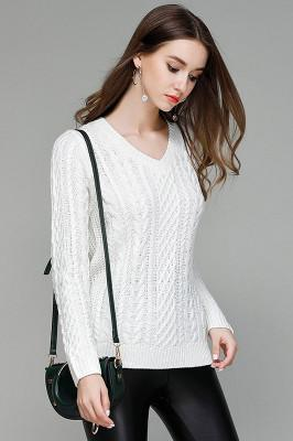 Long Sleeves V-neck Pure Color Cable Knit Sweater