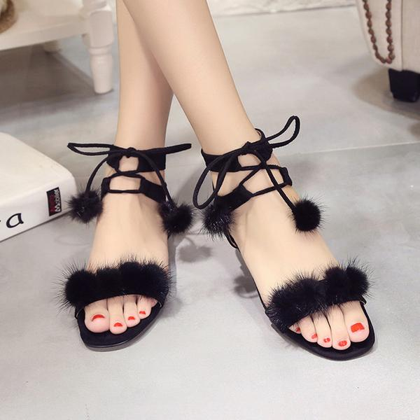 Fur Ball Decorate Ankle Wrap Flat Summer Sandals