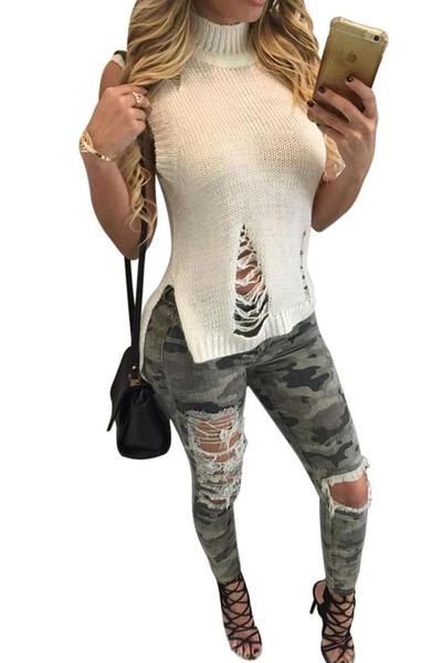 Cut Out Sleeves High Neck Low High Knitwear Sweater