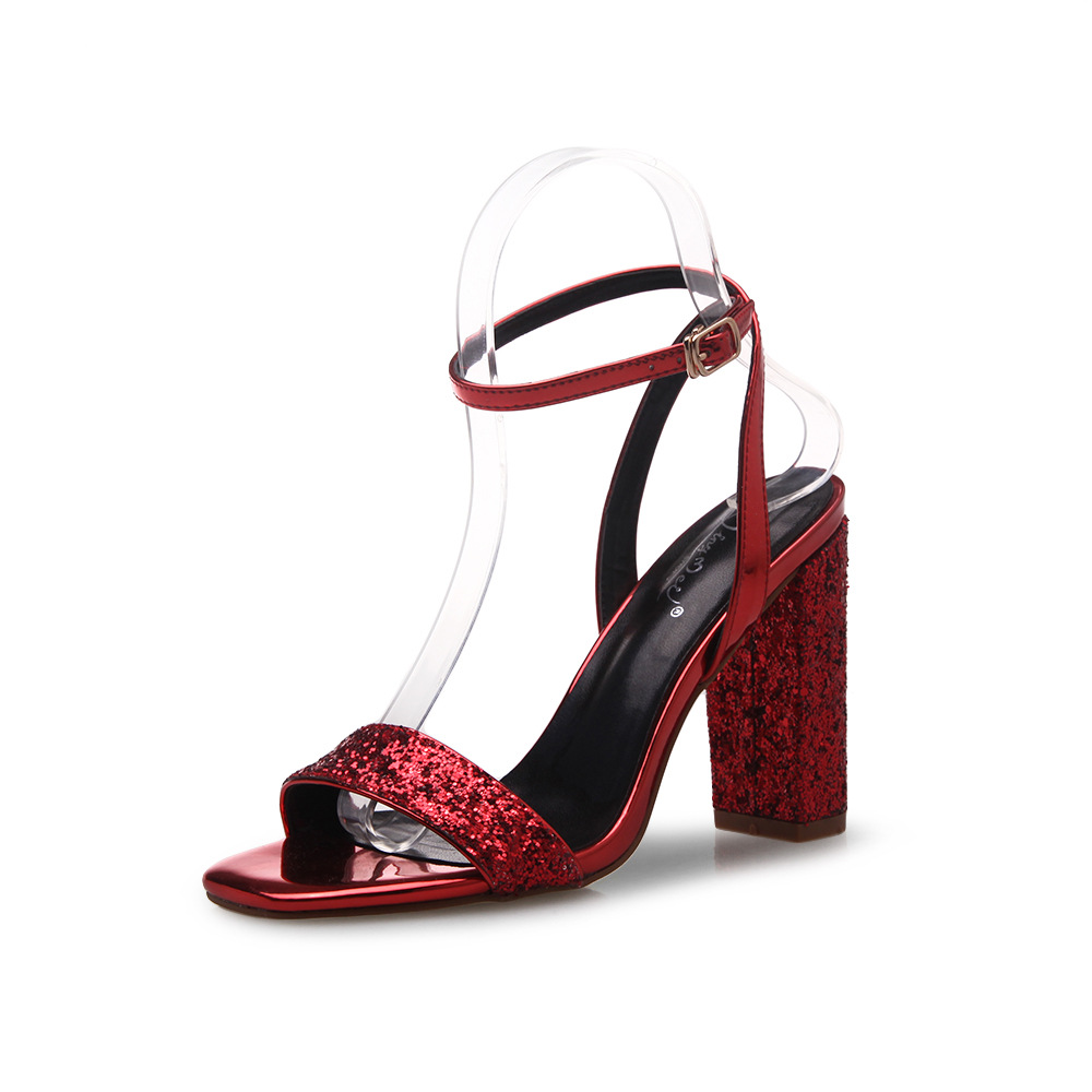 Square Open-Toe Sequined Ankle Strap Chunky Heels, High Heels