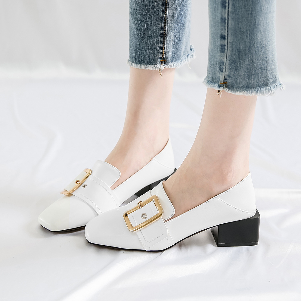 Hasp Square Toe Low Chunky Heel Low Cut Casual Shoes