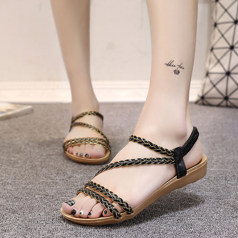 Pure Color PU Flat Peep-toe Ankle Strap Sandals