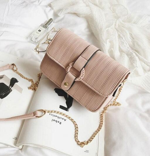 Korean Style Solid Color Chain Women Crossbody Bag