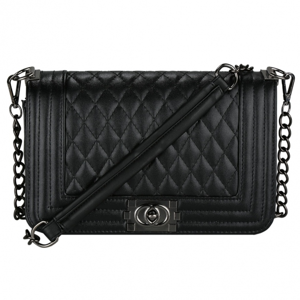 Black Leather Crossbody Bag With Quilted Texture And Chain Straps