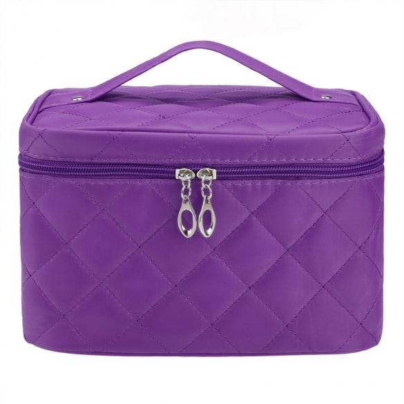 Women Portable Travel Zipper Plaid Cosmetic Makeup Bag Toiletry Case With Mirror