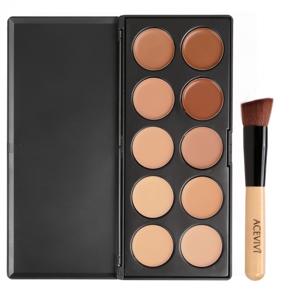 ACEVIVI 10 Colors Makeup Face Cream Concealer Palette + Powder Brush/ Puff Sponge