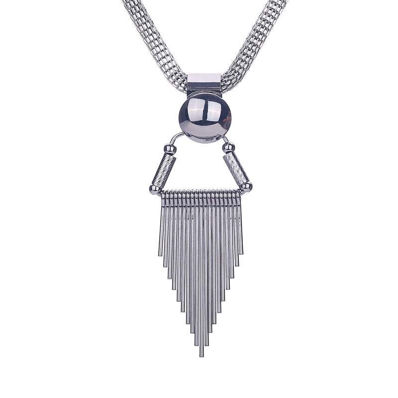 Europe Exaggerated Female Punk Style Alloy Tassel Necklace