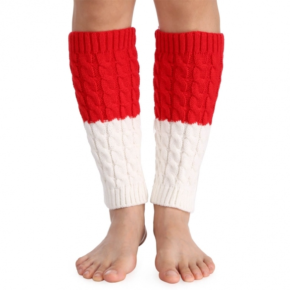 Avidlove European Women Lady Girl Leg Warmer Patchwork Splicing Knit Crochet Boots Cuffs