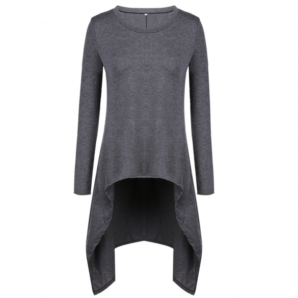 Fashion Casual Women O-Neck Long Sleeve Solid Irregular Hem Slim Long Blouse Tops