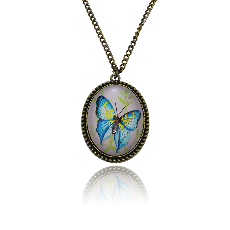 Chinese Style Butterfly Time Diamond Pendant Necklace