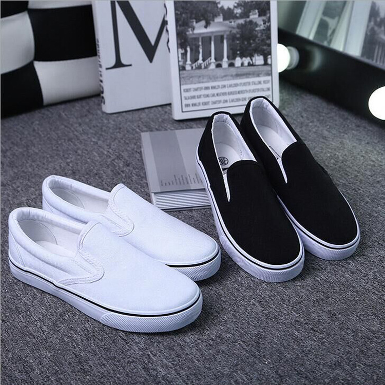Canvas Slip-On Sneakers in White or Black