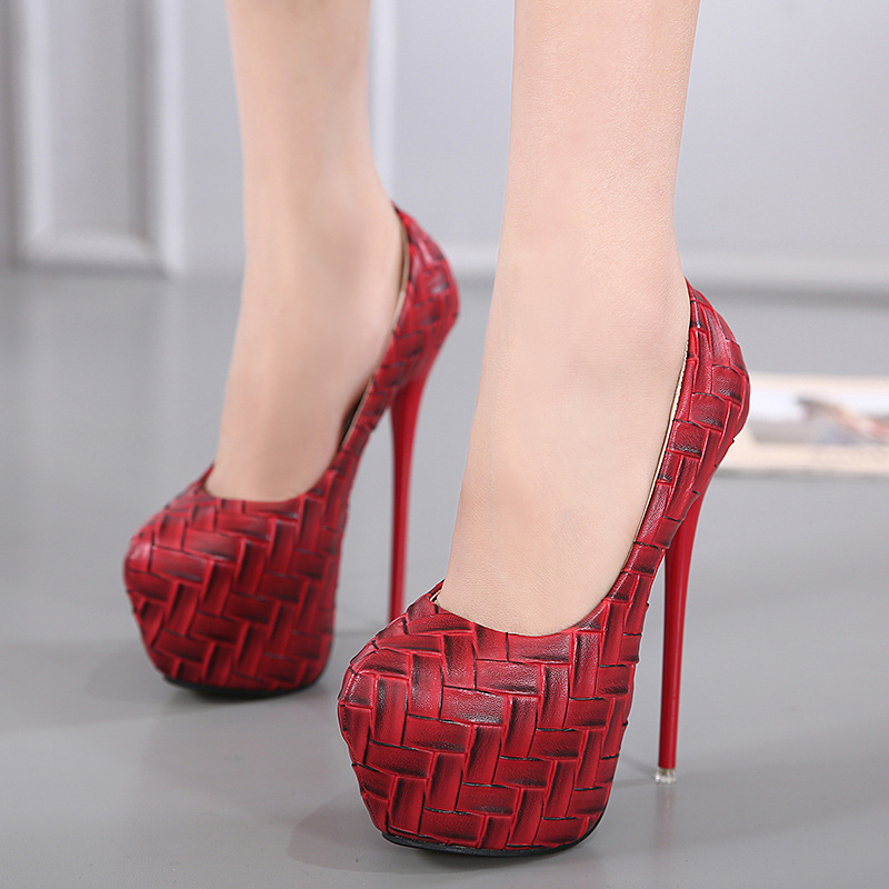 Ultra Stiletto Heel Weavas Print Joker High-Heeled Shoes