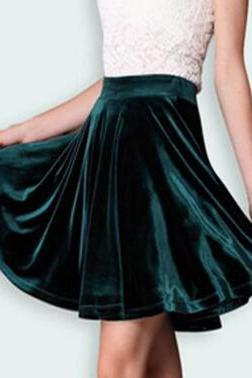 Pleuche Pure Color Pleated Short Skirts