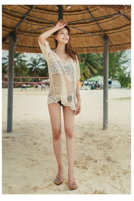 Hollow Out Knitting Bikini Cover Ups