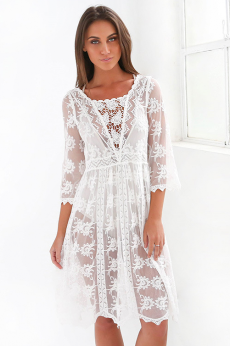 Lace Embroidery Hollow Out Beach Cover Ups