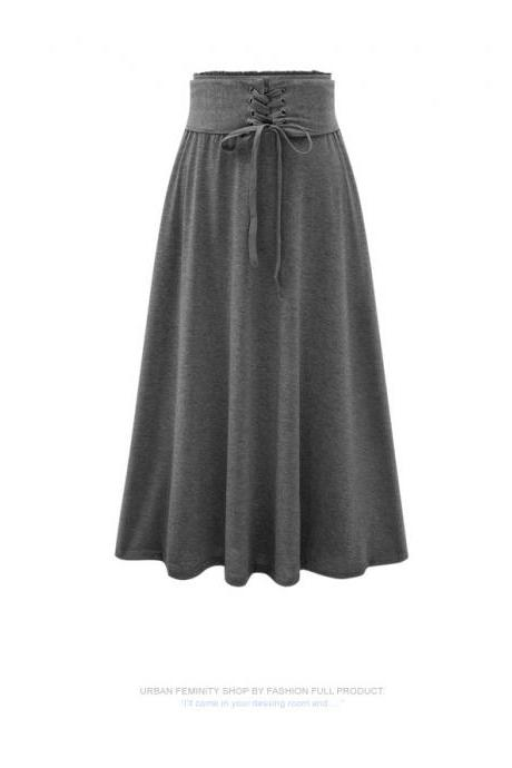 Waist band Elastic Solid Modal Flare Long Skirt