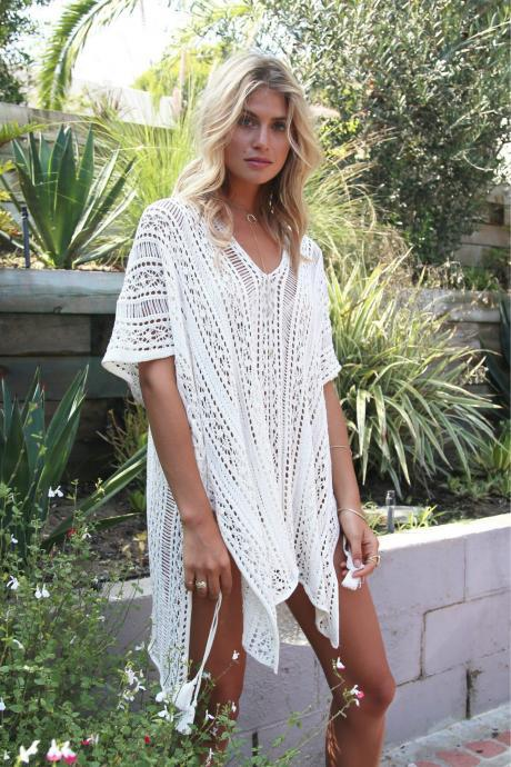 Pure Color Hollow Out V-neck Beach Irregular Short Cover Up Dress