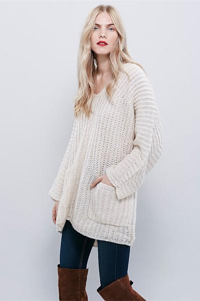 V-neck Pure Color Pocket Loose Long Sweater
